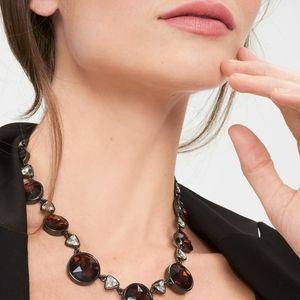 NWT Burgundy Stones Hematite Statement Necklace